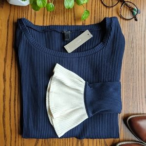NWT | J. Crew | Ribbed Bell Sleeve Top